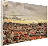 Favela Paraisopolis Hout 30x20 cm - Foto print op Hout (Wanddecoratie)