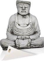 Stenen standbeeld van Boeddha Tuinposter 100x200 cm - Tuindoek / Buitencanvas / Schilderijen voor buiten (tuin decoratie) XXL / Groot formaat!