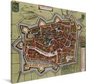 Historische stadskaart van Leeuwarden Canvas - Plattegrond 40x30 cm - klein - Foto print op Canvas schilderij (Wanddecoratie woonkamer / slaapkamer)