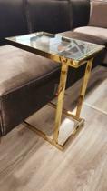 Side table gouden frame met glasplaat. Laptop Tafel Bank aanschuif tafel