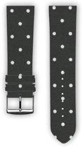 100% katoenen horlogeband met leder (achterzijde) White dot 24 mm