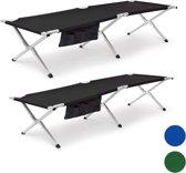 relaxdays stretcher, veldbed, kampeerbed, outdoor, logeerbed, opklapbaar bed