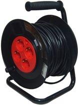 Kabelbox 40 meter verlengsnoer kabelhaspel kabel verleng haspel met 4 geaarde stopcontacten