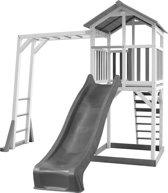 AXI Beach Tower Speeltoren met klimrek Grijs/wit - Grijze Glijbaan