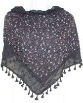 Driehoek Sjaal Zwart / Bloem
