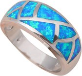 Opaal ring blauwe vuur vintage patroon silver plated