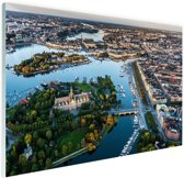 Luchtfoto van Stockholm Glas 180x120 cm - Foto print op Glas (Plexiglas wanddecoratie) XXL / Groot formaat!