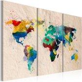 Schilderij - De wereld van kleuren, Multi-gekleurd, 2 Maten, 3luik