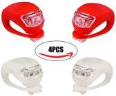 Siliconen LED Fiets Lampjes duo Set van 2x wit en 2x rood lampje - Verlichtingsset - Achterlicht - Voorlicht - Koplamp - Rood - Wit / fietslicht / fietslamp - Waterproof - Koubestendig