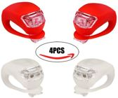 Siliconen LED Fiets Lampjes 2 Sets van 2 witte en 2 rode lampjes- Verlichtingsset - Achterlicht - Voorlicht - Koplamp - Rood - Wit / fietslicht / fietslamp