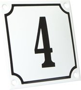 Emaille huisnummer wit/zwart nr. 4 10x10cm
