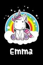 Emma: Personalized Name Notebook Blank Journal For Girls Or Women With Unicorn