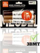3 BMT Meubel reparatie stiften set van 3 - voor bijwerken van kleine beschadigingen