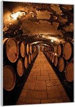 Plexiglas –Wijnvaten in de Wijnkelder– 80x120cm (Wanddecoratie op Plexiglas)