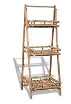 Opbergrek opslagrek rek met planken hout bruin etagere bamboe 56x50x145cm