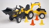 Falk 'Farm' gele traptractor incl. aanhanger, shovel en graafarm