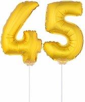 Gouden opblaas cijfer 45 op stokjes - verjaardag versiering / jaar