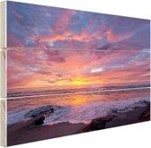 Avondlicht boven de zee Hout 30x20 cm - Foto print op Hout (Wanddecoratie)