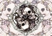 Fotobehang Skull Alchemy Roses   XL - 208cm x 146cm   130g/m2 Vlies