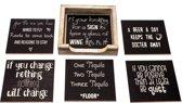 Originele Grappige Onderzetters Zwarte Set 15, 6 stuks met een houder van FSC-gecertificeerd hout