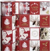 Cadeaupapier, b: 50 cm,  80 gr, goud, rood, kerstmotieven, 100m