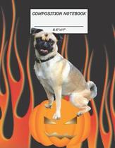Composition Notebook: Pug Dog On Halloween Pumpkin Hell Fire, Wide Ruled paper Notebook, Notes Taking, Basic Lines Journal,8.5''x11'',100 Page