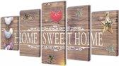 Canvas muurdruk print set home sweet home 100 x 50 cm