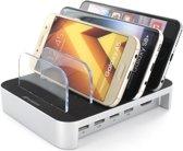 MobiGear Multi Dock 4 USB Poorten Laadstation Zilver