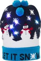 JAP Kerstmuts met lichtjes - Beanie met kerst verlichting - Sneeuwpop drie bolletjes - Let it snow
