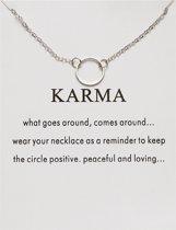 Karma Ketting - Rondje aan ketting - Geluksketting - 1 Cirkel - Zilverkleurig