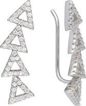 Classics&More - Zilveren Earcuffs - Earcuffs - Oorklimmer - Bloemetjes- zirkonia