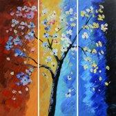 Schilderij 3 luik boom 90x90 Artello - Handgeschilderd - Woonkamer schilderij - Slaapkamer schilderij - Canvas - Modern
