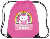 Eenhoorn Miss Magic rijgkoord rugtas / gymtas - roze - 11 liter - voor kinderen