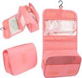 Toilettas Roze – Ophangbaar met Haak – Reis Travel Etui – Make Up Bag – Organizer voor Toiletartikelen