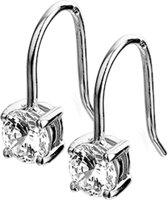 The Jewelry Collection Oorhangers Franse Haak Zirkonia - Zilver Gerhodineerd