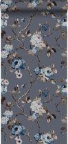 Origin behang bloemen vintage blauw en taupe - 347429