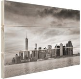 Manhattan New York in zwart-wit Hout 120x80 cm - Foto print op Hout (Wanddecoratie)