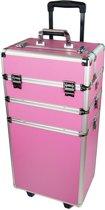 Trolley roze NIEUW 3 in 1 aluminium met slot