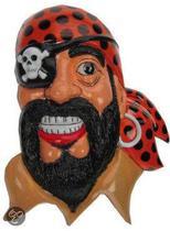 Wanddeco Piraten hoofd met ooglap
