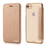 Xundd - iPhone 7 / iPhone 8 (4.7 inch) Folio Flip PU Leather hoesje + Pasje met transparant hard back cover Champagne Goud