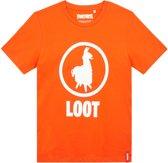 Fortnite T-shirt met korte mouw - oranje - Maat 140