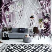 Fotobehang Luxury Ornamental Design Diamonds Purple | V4 - 254cm x 184cm | 130gr/m2 Vlies