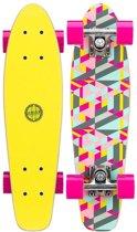 """Nijdam Houten Pennyboard 22.5"""" - Flipgrip-board - Fluorgeel/Magenta/Grijs"""