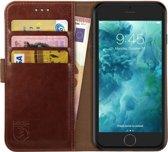 Rosso Element Apple iPhone 6 / iPhone 6S Hoesje Book Cover Bruin | Ruimte voor drie pasjes | Opbergvakje voor briefgeld | Handige stand functie | Magneetsluiting