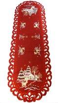Kerstkleed - Linnen - rood met hert - Loper 130 cm - 8837