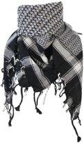 Arafatsjaal PLO Doek met Kwasten Rondom - Grijs / Zwart / Wit - 100% Katoen - 110x110cm | Zware Kwaliteit Arafatsjaal met Franjes | Vierkante Shawl | Arafat Sjaal