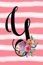 Monogram Y Notebook: 6x9 Blank Lined 120 Page Ladies Personalized Initial Writing Journal, Coral Pink Floral Watercolor Gift Book For Women