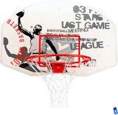 Basketbalbord met Basketbalring en Net - Wit / Rood - 90 x 60 cm - New Port