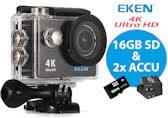 EKEN H9R Actioncam | 4K UltraHD | Class 10 16GB microSD-kaart + Extra Accu