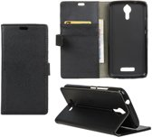 Litchi cover zwart wallet case hoesje Alcatel One Touch Pixi 4 (6)